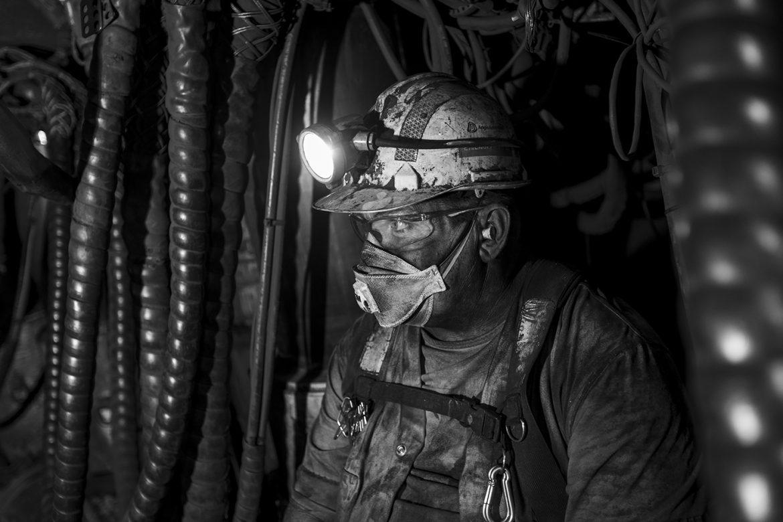 Underground coal miner taking a break