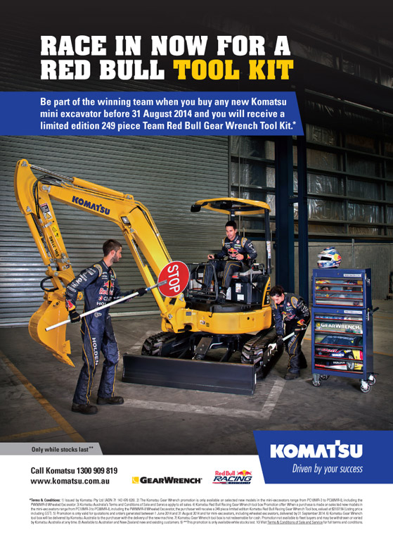 commercial photographer brisbane komatsu mini excavator red bull competition poster photography brief